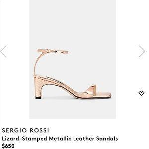 Sergio Rossi Lizard Stamped Metallic Sandals